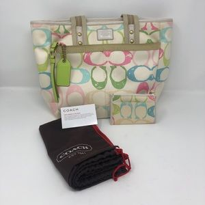 Coach Scribble Tote & Coin Purse